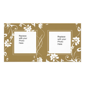 Photo Card Black Gold Floral Double