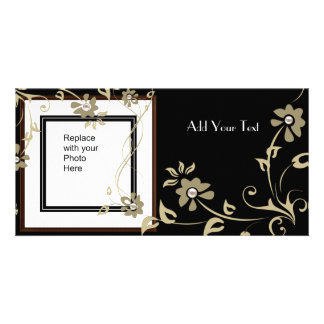 Photo Card Brown Black Gold Floral