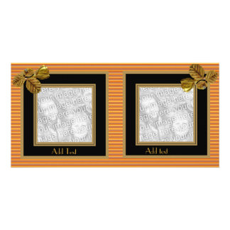 Photo Card Brown Black Gold Flower 2 Double Frame