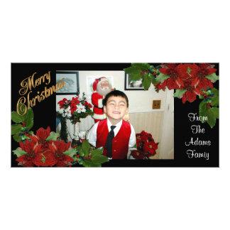 Photo Card Christmas poinsettias
