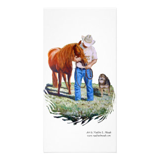Photo Card, Cowboy with Horse and Dog
