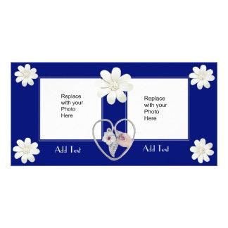 Photo Card Dark Blue Heart Floral Double