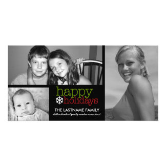 Photo Card: Happy Holidays with 3 photo collage Card