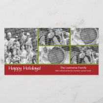 Photo Card: Happy Holidays with 5 photo collage Holiday Card