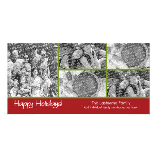 Photo Card: Happy Holidays with 5 photo collage Photo Card