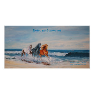 Photo Card, Horses in the surf
