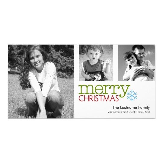 Photo Card: Merry Christmas black & white Card