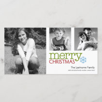 Photo Card: Merry Christmas black & white Holiday Card