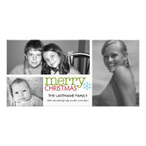 Photo Card: Merry Christmas with 3 photo collage Card