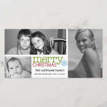 Photo Card: Merry Christmas with 3 photo collage Holiday Card