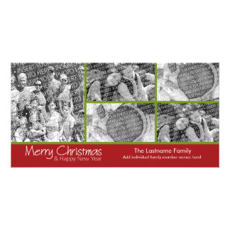 Photo Card: Merry Christmas with 5 photo collage Photo Card