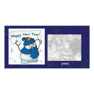 Photo Card - New Year Fireworks Snowman