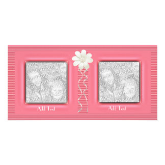 Photo Card Pink Ripple Floral 2 Double Frame
