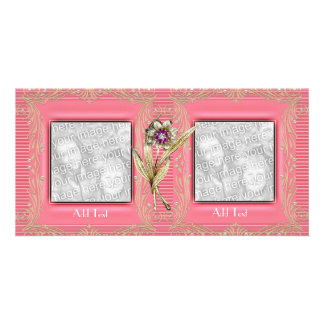 Photo Card Pink Ripple Floral Double Frame