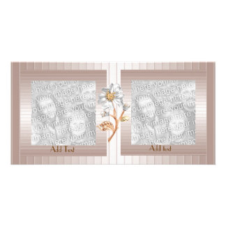 Photo Card Pink Salmon Ripple Floral Double Frame