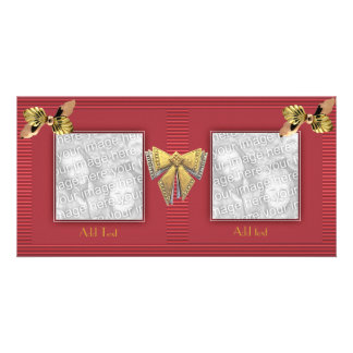 Photo Card Ripple Peach Red Gold Bow Double Frame