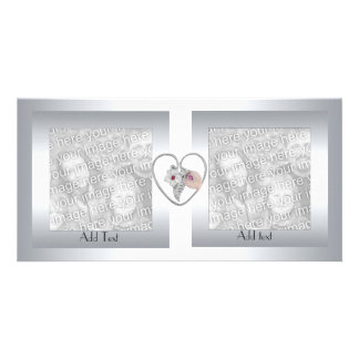 Photo Card Silver Metal Heart Double Frame