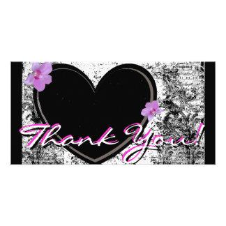Photo Card Thank You, Black, white, Pink