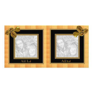 Photo Card Tiles Black Gold Flower 2 Double Frame
