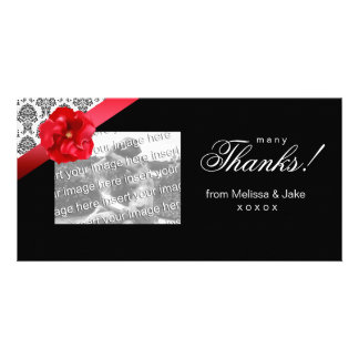 Photo Card with red floral bow damask