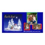 Photo Card with snowman cartoon design templat ...