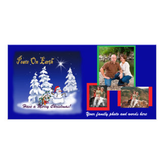 Photo Card with snowman cartoon design templat ...