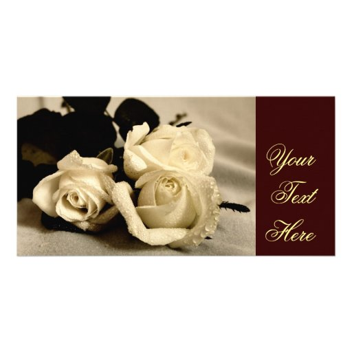 Photo Card with white roses