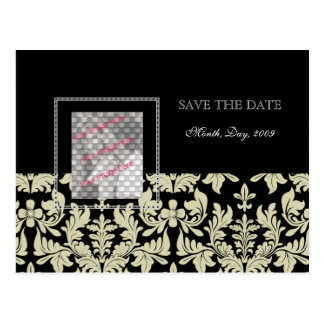 Photo cards, Black White save the date postcards