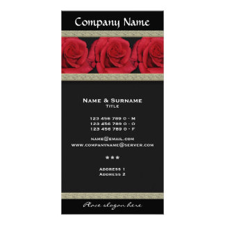 Photo cards template - customizable red roses