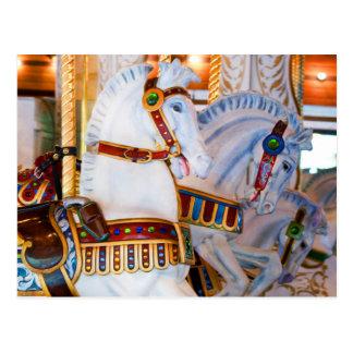 Photo Carousel Horses Antique Horses Postcard