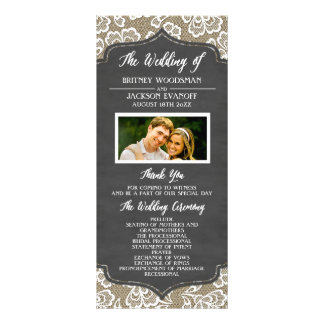 Photo Chalkboard Burlap Lace Wedding Programs