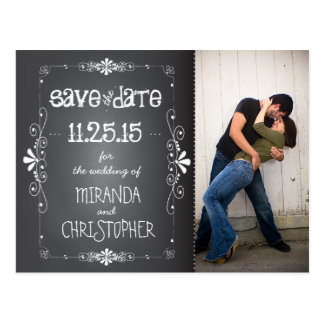 Photo Chalkboard Save the Date Wedding Postcard