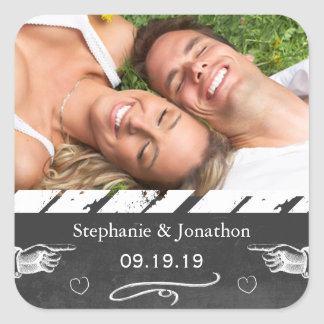 Photo Chalkboard Wedding Save the Date Seal