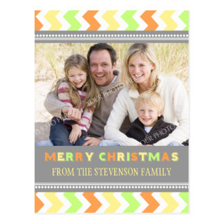 Photo Chevron Merry Christmas Postcards Grey