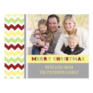 Photo Chevron Merry Christmas Postcards Red Green