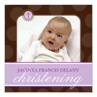 PHOTO CHRISTENING INVITES :: polkadot 7SQ