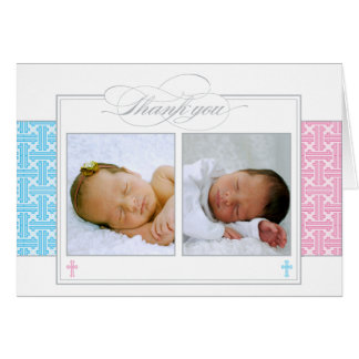 Photo Christening Thank You Card     Twins