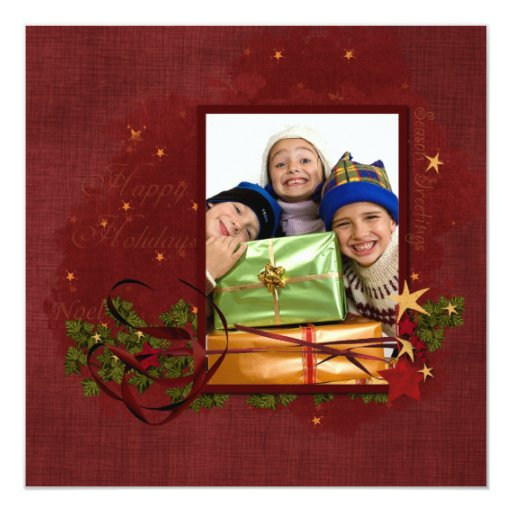 "Photo Christmas Card 5.25"" Square Invitation Card"
