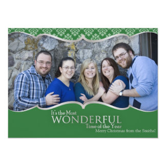 """Photo Christmas Card Green and Silver Classic 5.5"""" X 7.5"""" Invitation Card"""