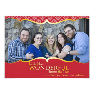 """Photo Christmas Card Red and Gold Classic 5.5"""" X 7.5"""" Invitation Card"""