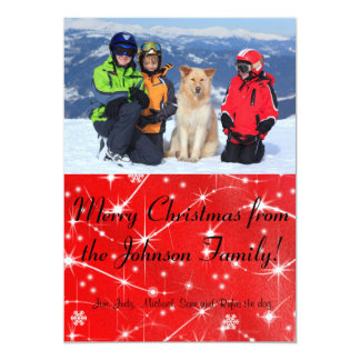 Photo Christmas Card with Swirling Snowflakes