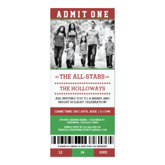 Photo Christmas Holiday Party Ticket Invitations