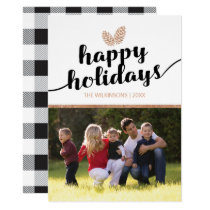 Photo Christmas Holiday Pine Cones | Black White Card