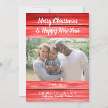 Photo Christmas New Year Red Wood Vintage Fun Holiday Card