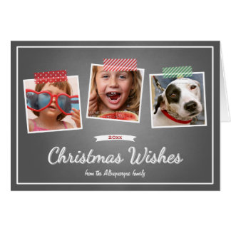 Photo Christmas Wishes Holiday Chalkboard Folded Greeting Cards