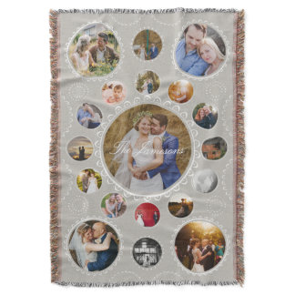 Photo Circular Frames Collage Gray and White Throw Blanket