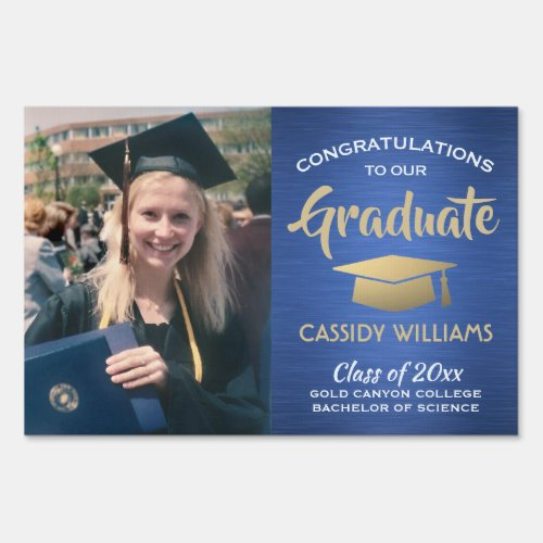 Photo Class of 2020 Blue Gold White Graduation Sign