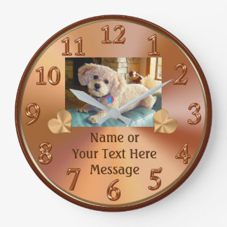 Photo Clock with Your Pet or People PICTURE, TEXT