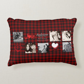 PHOTO COLLAGE 10 15 20th Anniversary Buffalo Plaid Decorative Pillow