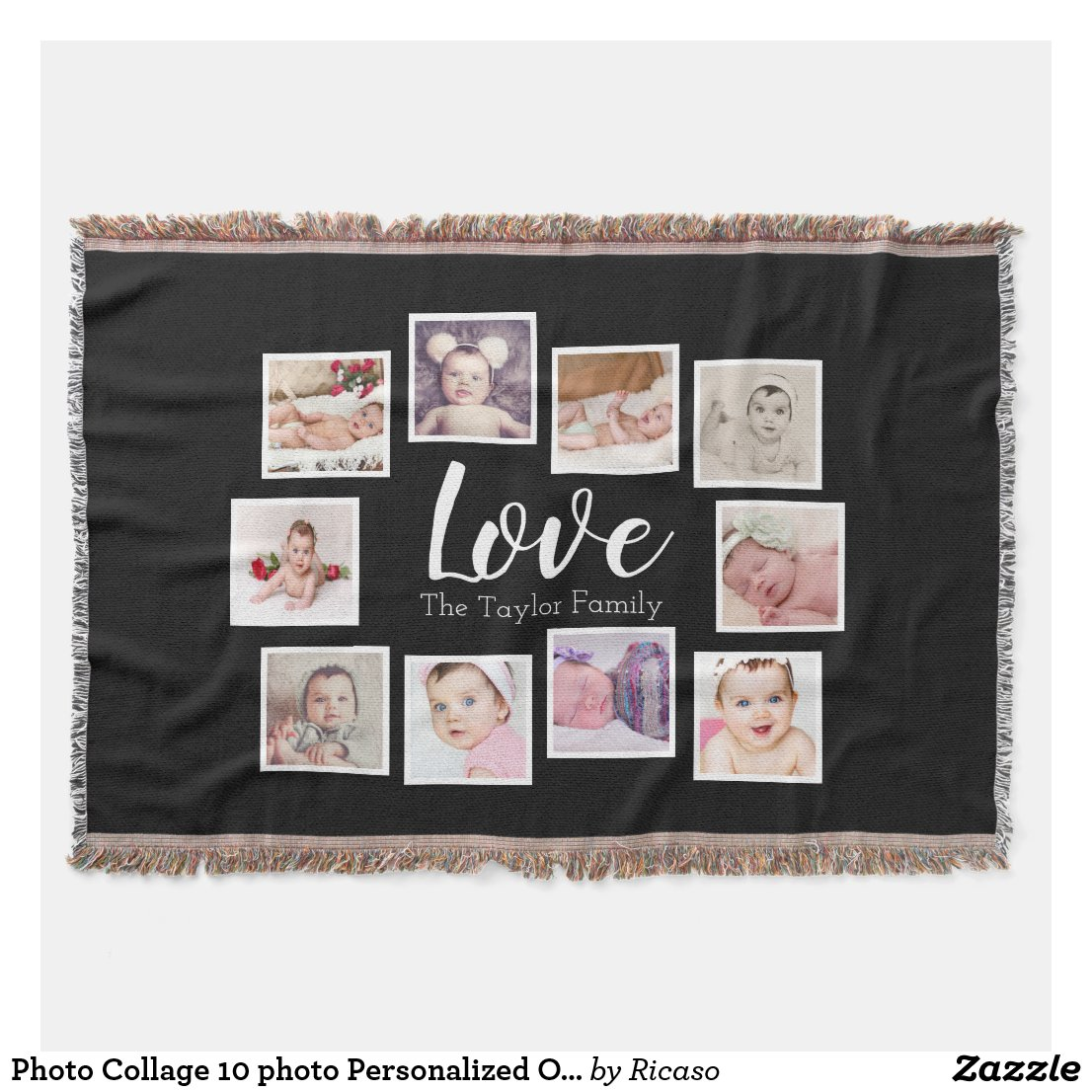 Throw Blanket Photo Collage 10 photo Personalized One of a Kind 54